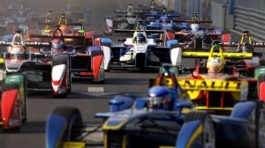 Formula E cars drive into a corner during the Formula E Championship race in Beijing