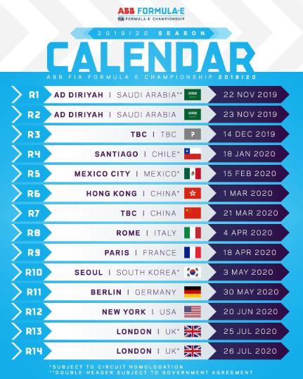 Formula Uno Calendario 2020.Calendario De La Formula Electric 2019 2020 Motormario